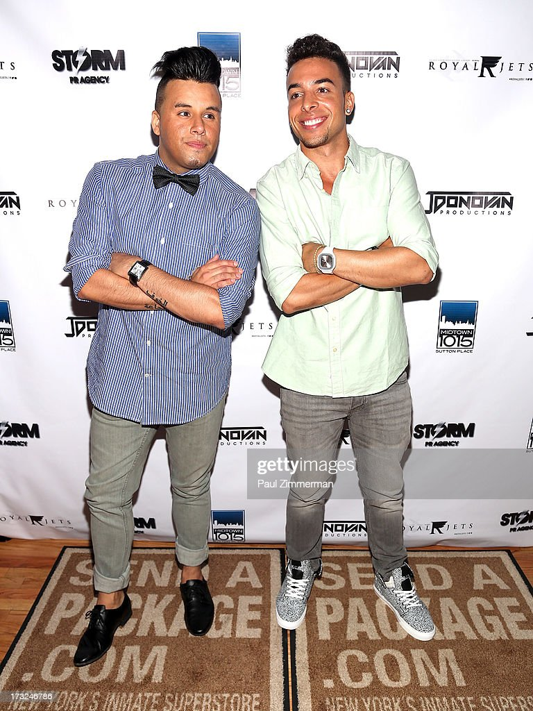 Johnny Donovan and DJ Dash attend Renee Graziano's Celebrity dinner party at Midtown 1015 on July 10, 2013 in New York City.