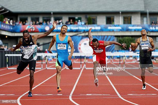 Johnny Dutch Michael Tinsley and Ricky Babineaux cross the finishline in the Men's 400 Meter Hurdles during the 2016 US Olympic Track Field Team...