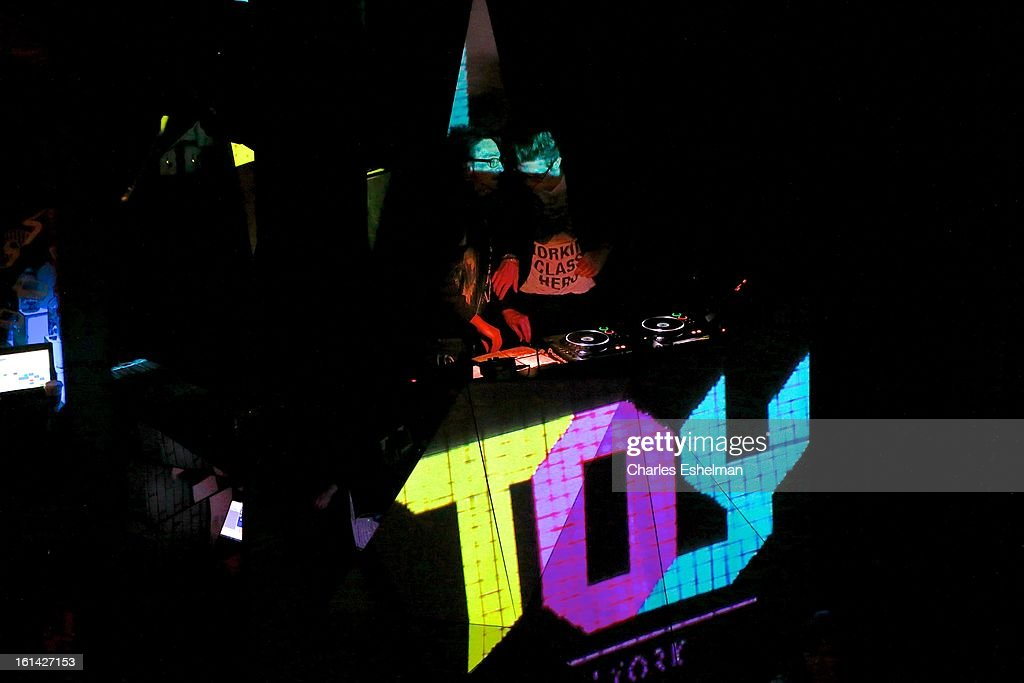 DJ Johnny Dynell spins attends the T @ Toy Party on February 10, 2013 in New York City.
