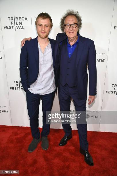 Johnny Flynn and Geoffrey Rush attend the 'Genius' Premiere during the 2017 Tribeca Film Festival at BMCC Tribeca PAC on April 20 2017 in New York...