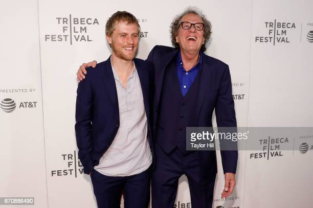 Johnny Flynn and Geoffrey Rush attend the premiere of 'Genius' during the 2017 Tribeca Film Festival at Borough of Manhattan Community College on...
