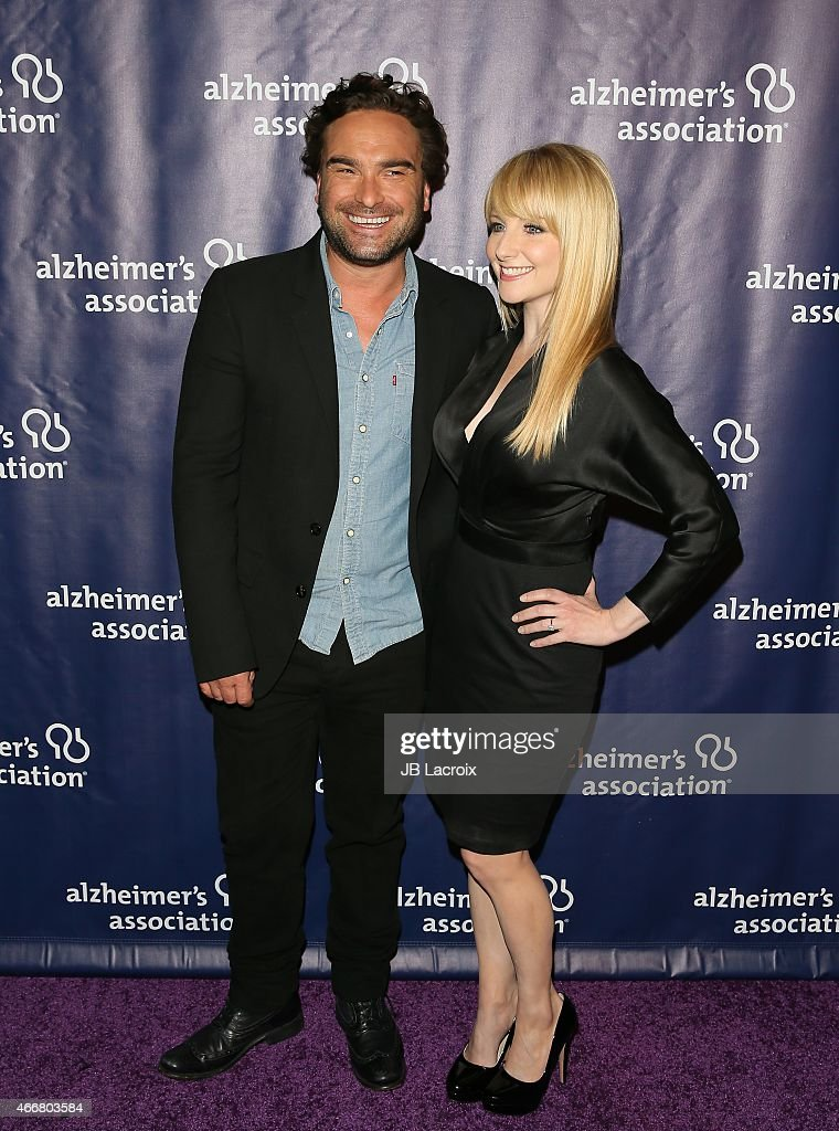 Johnny Galecki and Melissa Rauch attend the 23rd Annual 'A Night At Sardi's' To Benefit The Alzheimer's Association at The Beverly Hilton Hotel on March 18, 2015 in Beverly Hills, California.