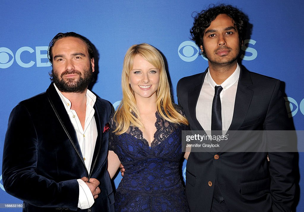 <a gi-track='captionPersonalityLinkClicked' href=/galleries/search?phrase=Johnny+Galecki&family=editorial&specificpeople=832098 ng-click='$event.stopPropagation()'>Johnny Galecki</a>, <a gi-track='captionPersonalityLinkClicked' href=/galleries/search?phrase=Melissa+Rauch&family=editorial&specificpeople=887562 ng-click='$event.stopPropagation()'>Melissa Rauch</a> and <a gi-track='captionPersonalityLinkClicked' href=/galleries/search?phrase=Kunal+Nayyar&family=editorial&specificpeople=4414736 ng-click='$event.stopPropagation()'>Kunal Nayyar</a> attend the CBS 2013 Upfront Presentation at The Tent at Lincoln Center on May 15, 2013 in New York City.