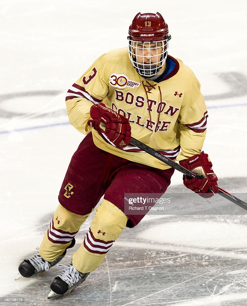 Johnny Gaudreau #13 of the Boston College Eagles skates against the Massachusetts Lowell River Hawks during the NCAA Division I Men's Ice Hockey Northeast Regional Championship Final at the DCU Center on March 30, 2014 in Worcester, Massachusetts.