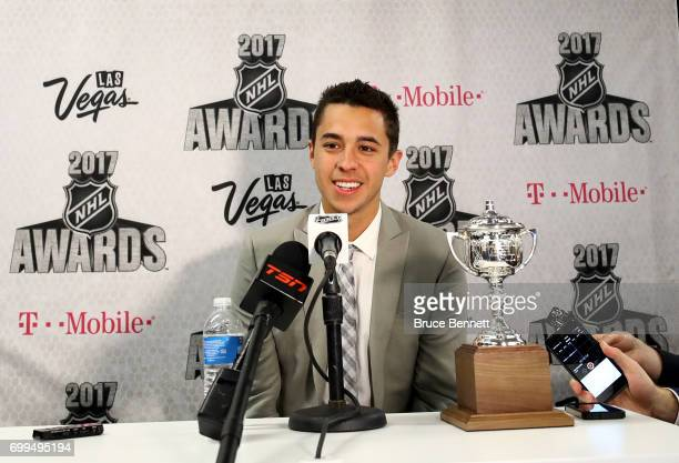 Johnny Gaudreau of the Calgary Flames addresses the media after winning the Lady Byng Memorial Trophy awarded 'to the player adjudged to have...