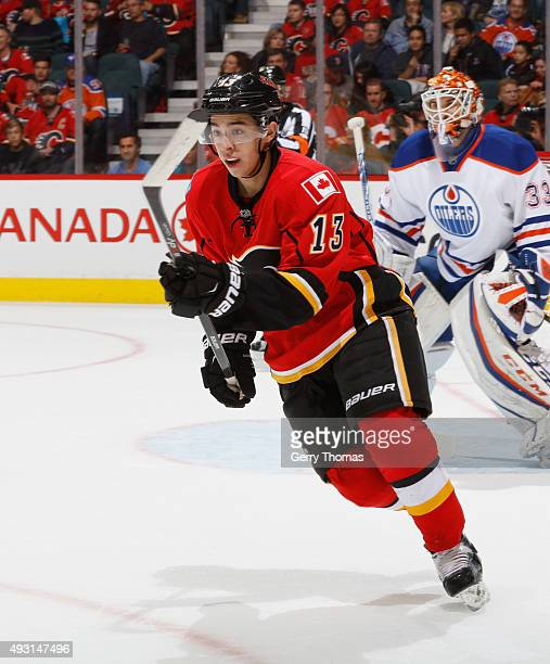 Johnny Gaudreau of the Calgary Flames against the Edmonton Oilers at Scotiabank Saddledome on October 17 2015 in Calgary Alberta Canada