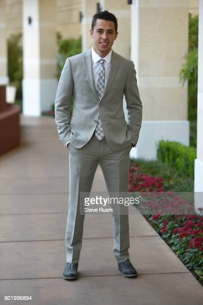 Johnny Gaudreau of the Calgary Flames arrives or the 2017 NHL Awards at TMobile Arena on June 21 2017 in Las Vegas Nevada