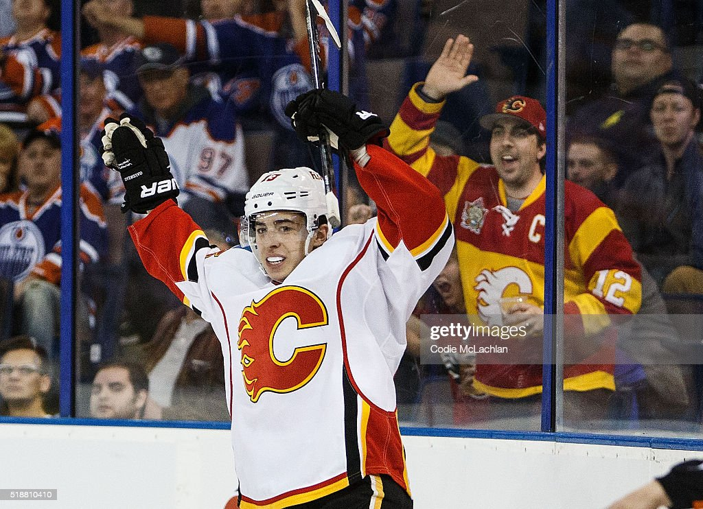 <a gi-track='captionPersonalityLinkClicked' href=/galleries/search?phrase=Johnny+Gaudreau&family=editorial&specificpeople=8953159 ng-click='$event.stopPropagation()'>Johnny Gaudreau</a> #13 of the Calgary Flames celebrates a goal against the Edmonton Oilers on April 2, 2016 at Rexall Place in Edmonton, Alberta, Canada.