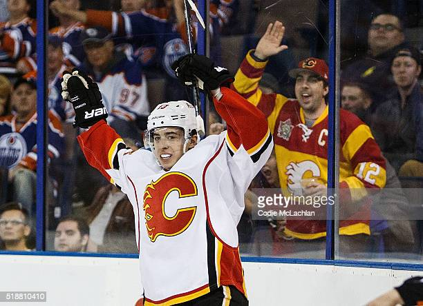 Johnny Gaudreau of the Calgary Flames celebrates a goal against the Edmonton Oilers on April 2 2016 at Rexall Place in Edmonton Alberta Canada