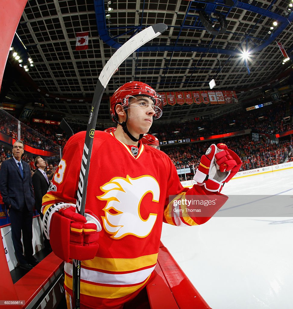 Johnny Gaudreau #13 of the Calgary Flames celebrates after a goal against the Edmonton Oilers at Scotiabank Saddledome on January 21, 2017 in Calgary, Alberta, Canada.
