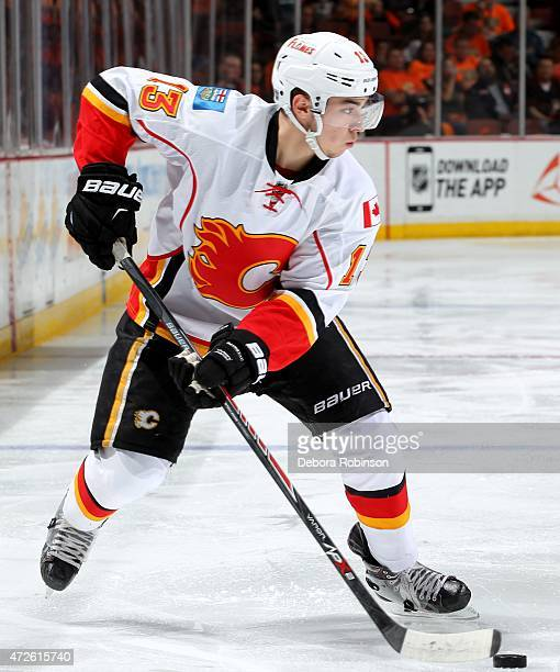 Johnny Gaudreau of the Calgary Flames handles the puck against the Anaheim Ducks in Game Two of the Western Conference Semifinals during the 2015 NHL...