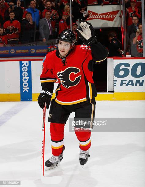 Johnny Gaudreau of the Calgary Flames is awarded 1st Star of the game against the Nashville Predators at Scotiabank Saddledome on March 9 2016 in...