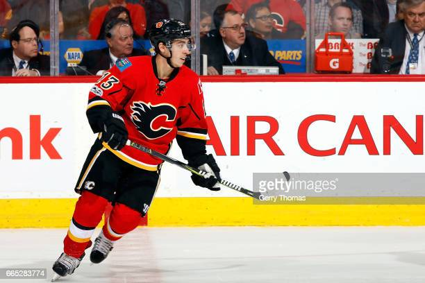 Johnny Gaudreau of the Calgary Flames skates against the Boston Bruins during an NHL game on March 15 2017 at the Scotiabank Saddledome in Calgary...