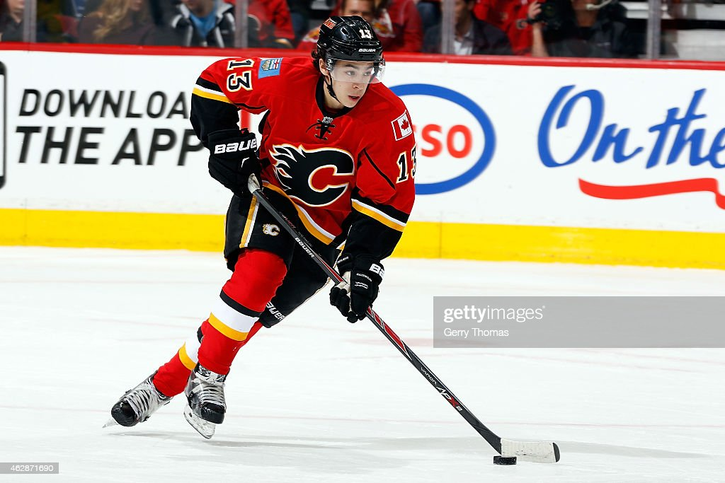 <a gi-track='captionPersonalityLinkClicked' href=/galleries/search?phrase=Johnny+Gaudreau&family=editorial&specificpeople=8953159 ng-click='$event.stopPropagation()'>Johnny Gaudreau</a> #13 of the Calgary Flames skates against the Buffalo Sabres at Scotiabank Saddledome on January 27, 2015 in Calgary, Alberta, Canada. The Flames won 4-1.