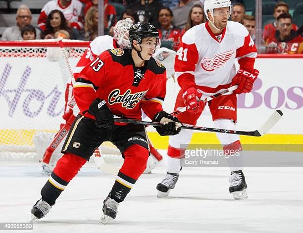 Johnny Gaudreau of the Calgary Flames skates against the Detroit Red Wings at Scotiabank Saddledome on October 23 2015 in Calgary Alberta Canada