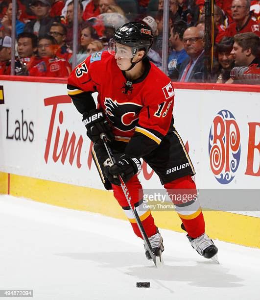 Johnny Gaudreau of the Calgary Flames skates against the Edmonton Oilers at Scotiabank Saddledome on October 17 2015 in Calgary Alberta Canada
