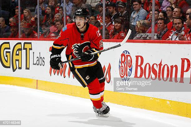 Johnny Gaudreau of the Calgary Flames skates against the Los Angeles Kings at Scotiabank Saddledome on April 9 2015 in Calgary Alberta Canada