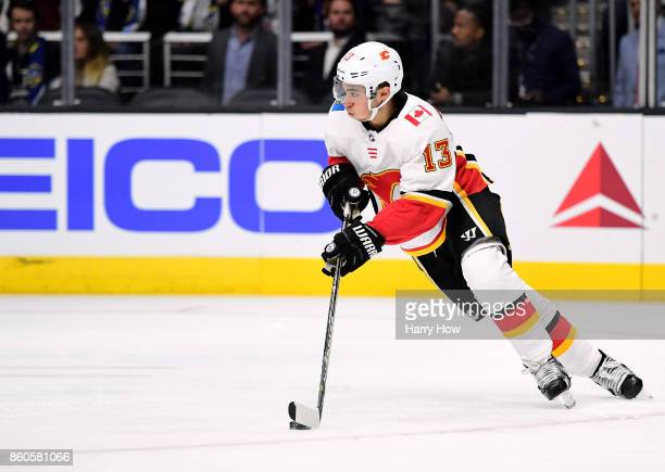 Johnny Gaudreau of the Calgary Flames skates against the Los Angeles Kings at Staples Center on October 11 2017 in Los Angeles California