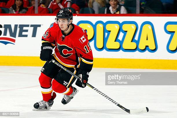Johnny Gaudreau of the Calgary Flames skates against the Nashville Predators during an NHL game on January 19 2017 at the Scotiabank Saddledome in...