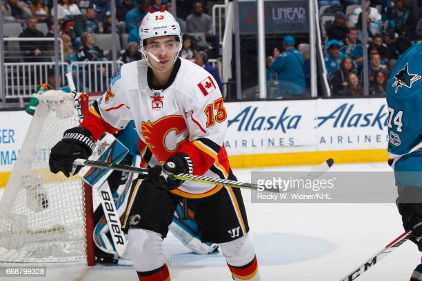 Johnny Gaudreau of the Calgary Flames skates against the San Jose Sharks at SAP Center on April 8 2017 in San Jose California