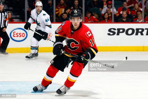 Johnny Gaudreau of the Calgary Flames skates against the San Jose Sharks during an NHL game on January 11 2017 at the Scotiabank Saddledome in...
