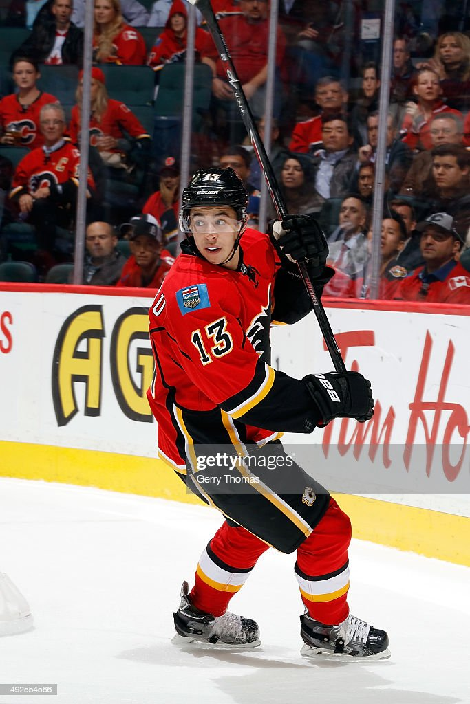 Johnny Gaudreau #13 of the Calgary Flames skates against the St. Louis Blues during an NHL game at Scotiabank Saddledome on October 13, 2015 in Calgary, Alberta, Canada.