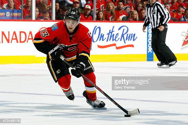 Johnny Gaudreau of the Calgary Flames skates against the Vancouver Canucks at Scotiabank Saddledome for Game Three of the Western Quarterfinals...