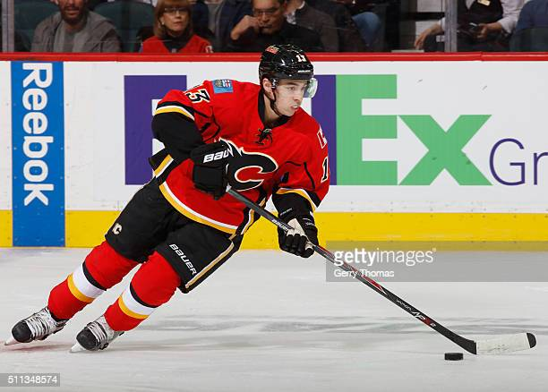 Johnny Gaudreau of the Calgary Flames skates against the Vancouver Canucks at Scotiabank Saddledome on February 19 2016 in Calgary Alberta Canada