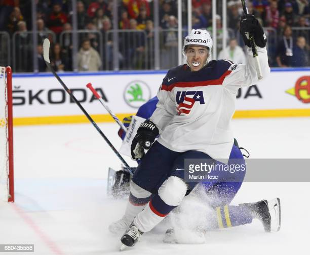 Johnny Gaudreau of USA celebrates scoring his team's second goal during the 2017 IIHF Ice Hockey World Championship game between USA and Sweden at...