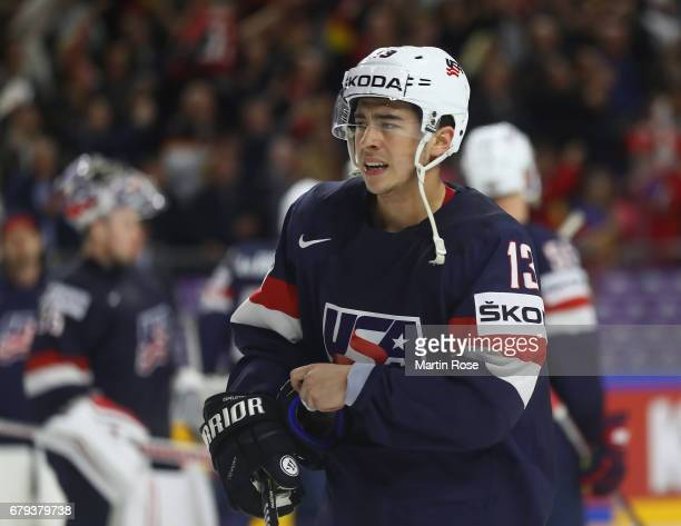 Johnny Gaudreau of USA looks dejected after the 2017 IIHF Ice Hockey World Championship game between USA and Germany at Lanxess Arena on May 5 2017...