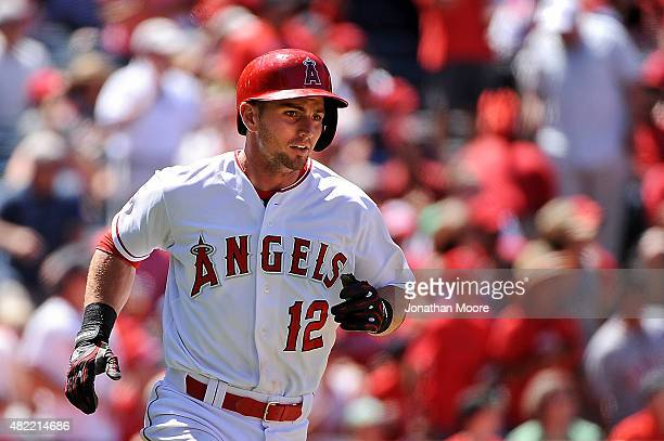 Johnny Giavotella of the Los Angeles Angels of Anaheim runs on field during a game against the Texas Rangers at Angel Stadium of Anaheim on July 26...