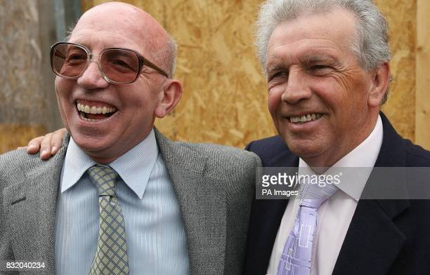 Johnny Giles with long time friend and footballing colleague Sir Nobby Styles at the unveiling of a plaque in Ormond Square Dublin to mark the...