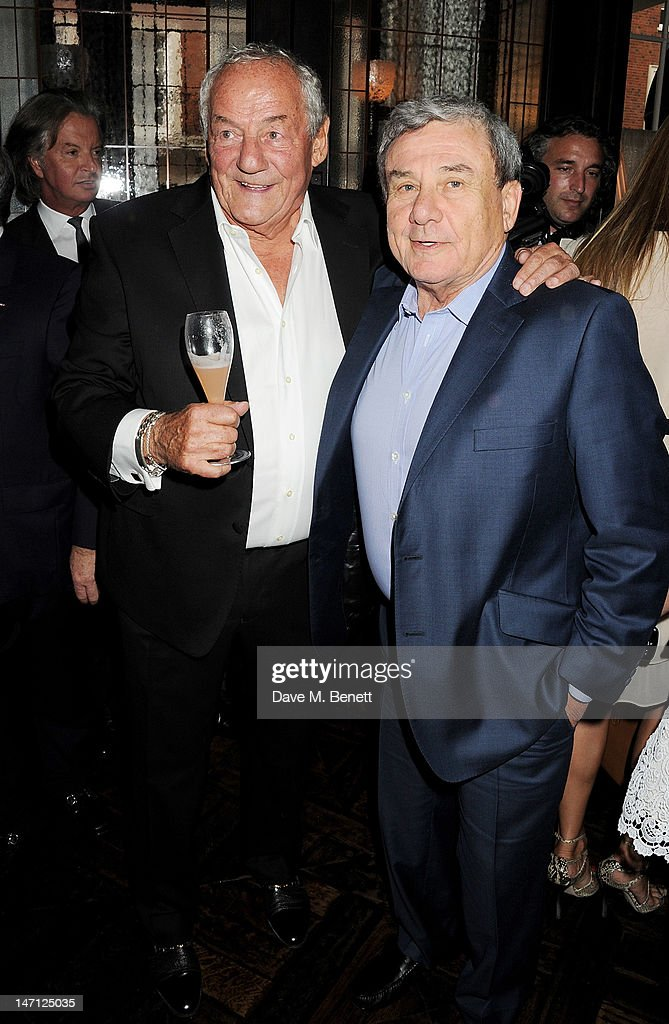 Johnny Gold and Sol Kerzner attend as Richard Caring and Sir Philip Green host Johnny Gold's 80th Birthday at 34 Grosvenor Square on June 25 2012 in...