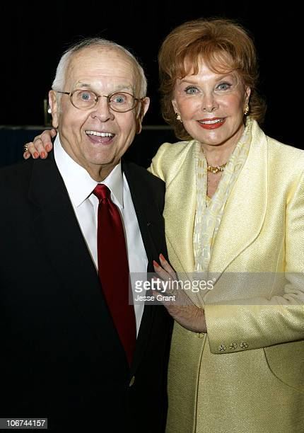 Johnny Grant and Rhonda Fleming during Hollywood Chamber of Commerce 83rd Annual Officer Installation and Lifetime Achievment Award Luncheon at The...