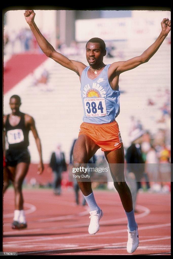 Johnny Gray celebrates during the US Olympic Trials. Mandatory Credit: Tony Duffy /Allsport
