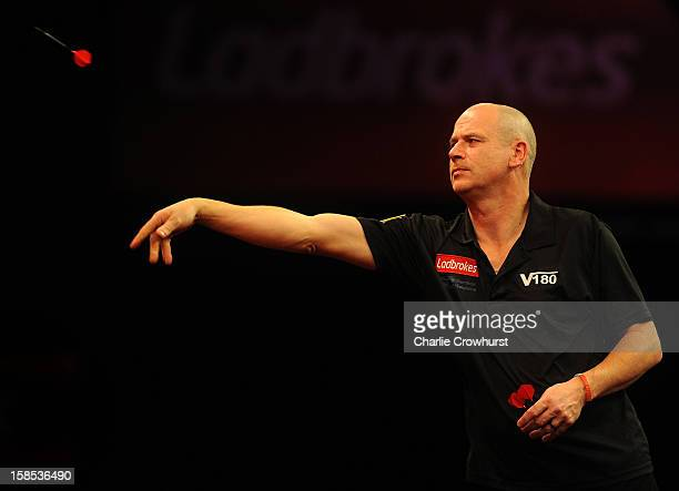 Johnny Haines of England in action during his first round match against Wes Newton of England on day five of the Ladbrokescom World Darts...