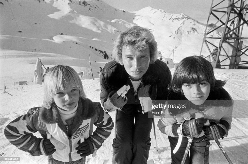 Johnny Hallyday and his son David Hallyday (left) on a ski trip, January 1974