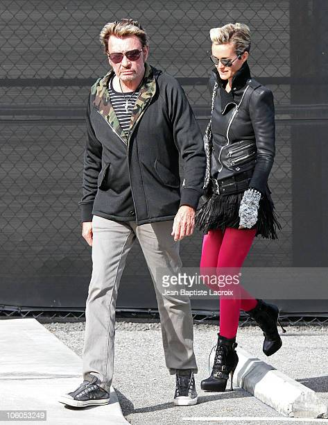 Johnny Hallyday and Laetitia Hallyday are seen on October 25 2010 in Los Angeles California