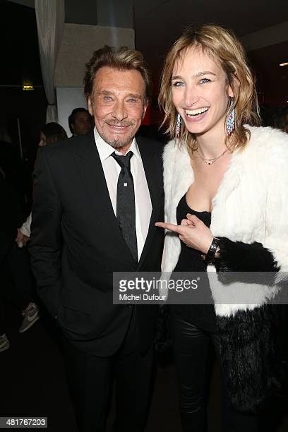 Johnny Hallyday and Pauline Lefevre attend the 'Salaud On T'Aime' After Party at Cinema L'Elysee Biarritz presented by Benjamin Patou chairman of the...