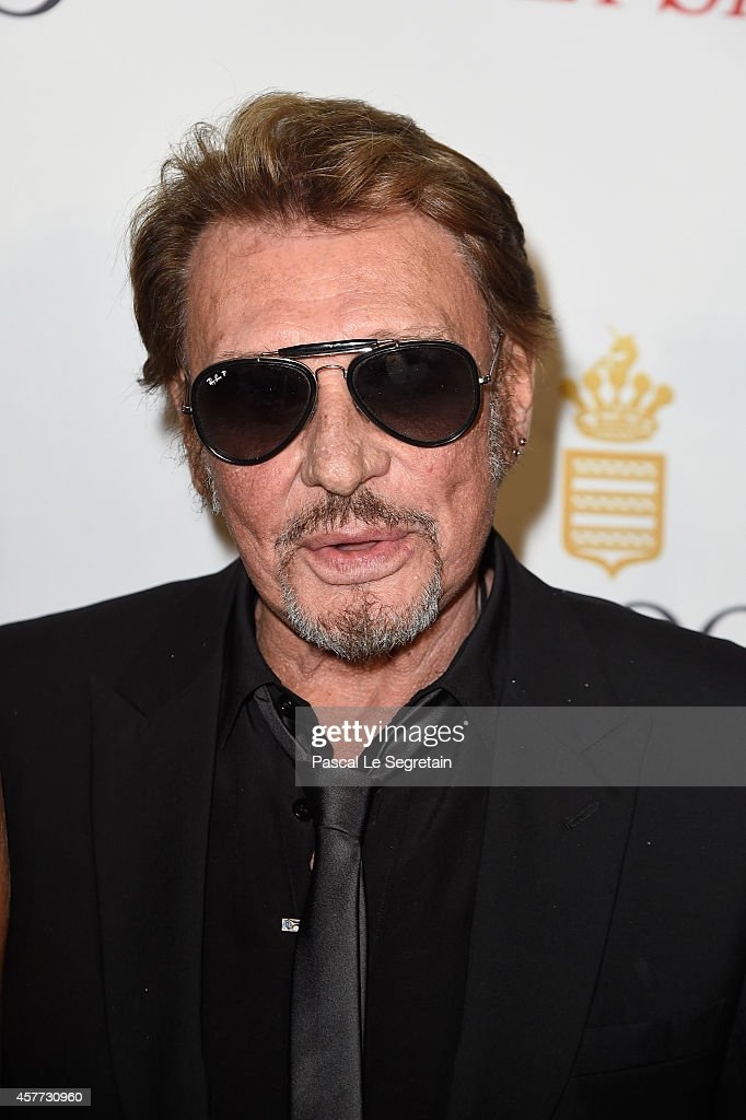 Johnny Hallyday attends the launch of the De Grisogono 'Crazy Skull' watch on October 23, 2014 in Paris, France.