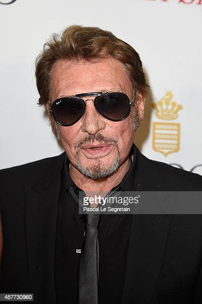 Johnny Hallyday attends the launch of the De Grisogono 'Crazy Skull' watch on October 23 2014 in Paris France