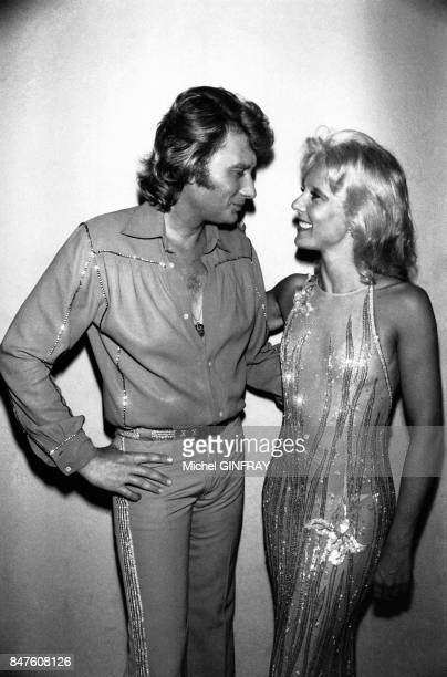 Johnny Hallyday et Sylvie Vartan les deux stars du music hall francais aux arenes de Beziers le 13 aout 1978 a Beziers France