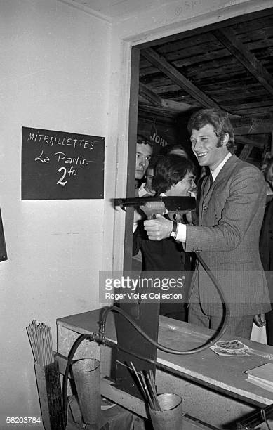Johnny Hallyday French singer at shooting gallery France October 1966