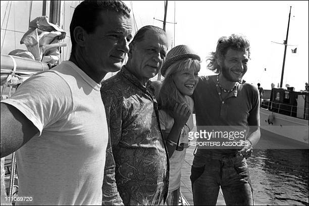 Johnny Hallyday in the sixties in France Eric Tabarly Papillon Sylvie Vartan Johnny Hallyday in Saint Raphael France in August 1969