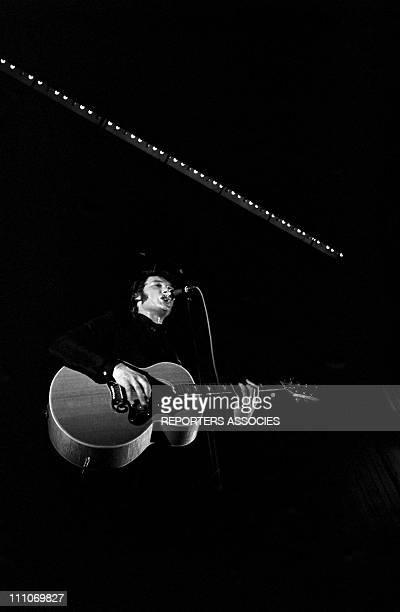 Johnny Hallyday in the sixties in France Johnny Hallyday is on stage in Apville France on August 12 1966