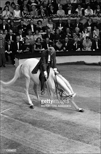 Johnny Hallyday in the sixties in France Johnny Hallyday is riding a horse at the Gala de L'Union in France on March 07 1964