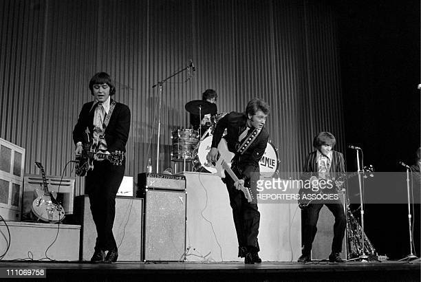 Johnny Hallyday in the sixties in France Johnny Hallyday on stage at the Olympia in Paris France on March 17 1967