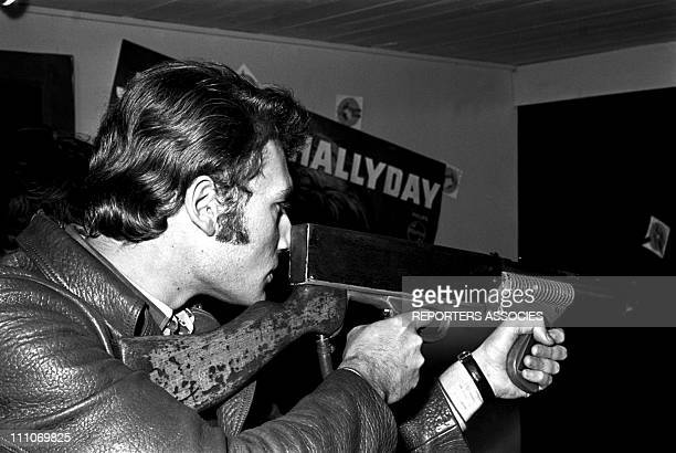Johnny Hallyday in the sixties in France Johnny Hallyday rifle shooting in France on October 20 1966