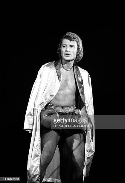 Johnny Hallyday in the sixties in France Opening concert of Johnny Hallyday at the Palais des Sports in Paris France on April 28 1969