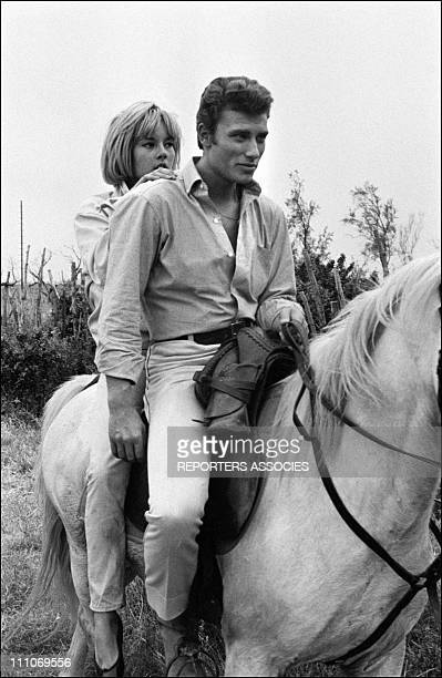 Johnny Hallyday in the sixties in France Sylvie Vartan and Johnny Hallyday in Camargue France on May 25 1963